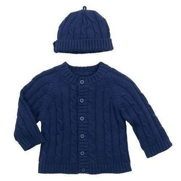 Elegant Baby Cable Knit Navy Sweater/Hat Set
