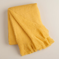 Yellow Faux Mohair Throw - World Market