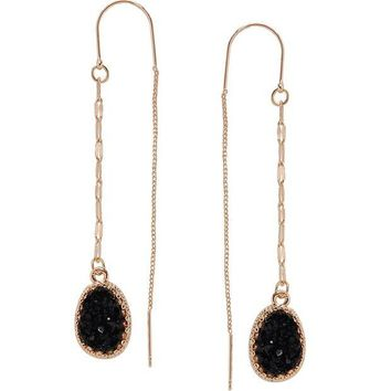 DCCKV2S Humble Chic Simulated Druzy Chain Bar Threaders - Long Sparkly Needle Drop Earrings