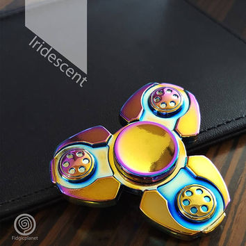 New** EDC Superb Metal Fidget Spinner with Steel R188 Bearing (Iridescent, Tri-spinner, Ultra Fast)
