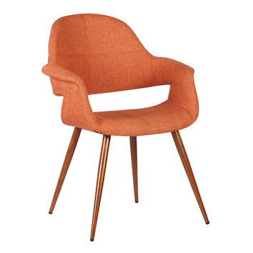 Armen Living Phoebe Mid-Century Dining Chair in Walnut Finish and Orange Fabric
