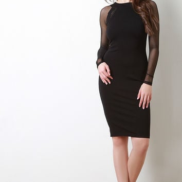 Mesh Long Sleeves Bodycon Midi Dress