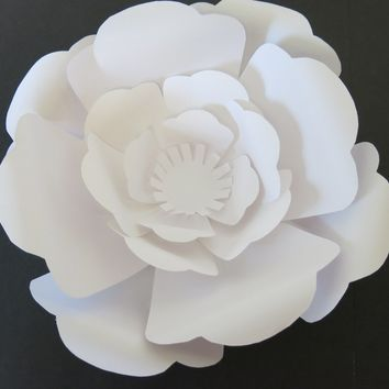 "Large paper rose flower wall, custom made in any color, 10"" white giant flower wedding backdrop, baby nursery decor"