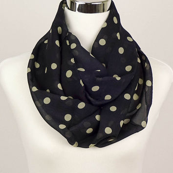 Black Polkadot Scarf Women's Accessories Black Scarf Polkadot infinity Scarf Polka dot Scarves Fashion Scarf chiffon Sheer lightweight scarf