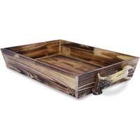 HiEnd Accent Brown Wooden Tray with Antler Handles