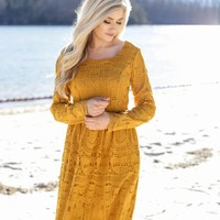 Canton Lace Dress, Mustard