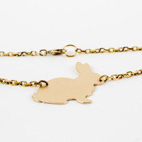 Matte Gold Tone Brass Rabbit Dainty Necklace