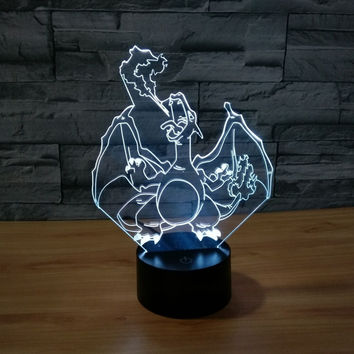 3D Atmosphere lamp 7 Color Changing Visual illusion LED Decor Lamp Pokemon Charizard  Home Table Decoration for Child Gift