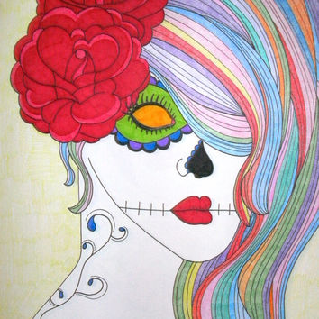 Sugar Skull Girl with Roses Colored Pencil and Sharpie 9x12 Drawing, Colorful Original Day of the Dead Art, Dia De Los Muertos Gift Idea