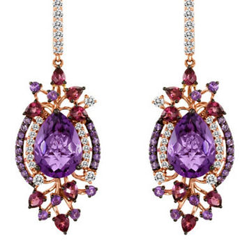 Levian Amethyst Multicolor Drop Earrings in 14 Kt Strawberry Gold