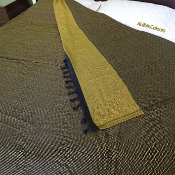 Golden yellow and black colour diamond herringbone patterned Turkish soft cotton double bed cover, blanket, bed spread, flat sheet.