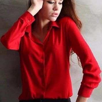 Elegant Ladies Formal Blouse Work Wear  Shirt Chiffon