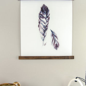 Feather CANVAS PRINT of ORIGINAL watercolor Art Feather Wall Hanging Bohemian Decor Birds Science Wall Art Spring art Gypsy Art nature Print