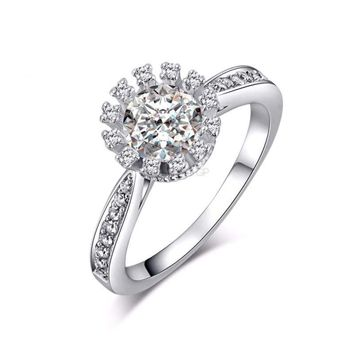 Luxury Flower Ring Wedding Ring for Women Fashion Jewelry Engagement Rings with 0.9 Carat AAA Cubic Zirconia