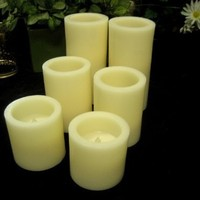 Flameless LED Candles; 2 Set of 3, 4, and 6 Inch Ivory Round Pillar Wax Candles