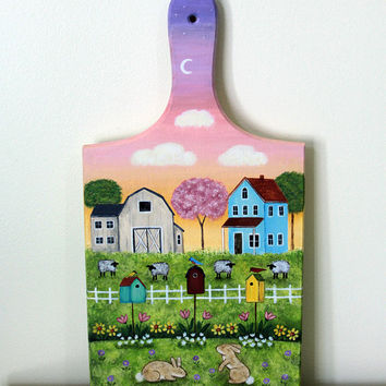 Spring Folk Art Primitive Bread Board - MADE TO ORDER - Saltbox House, Barn, Birdhouses, Bunnies, Sheep, Tulips, Lily of the Valley, Sunrise