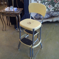 Mid Century Cosco Step Stool/ Chair Mad Men Furniture Vintage Rustic Kitchen Industrial Cottage Chic Pastel Yellow & Chrome