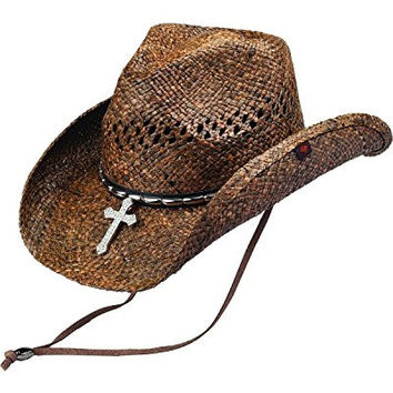 Peter Grimm Ltd Unisex Wagon Raffia Straw Cowboy Hat Brown One Size