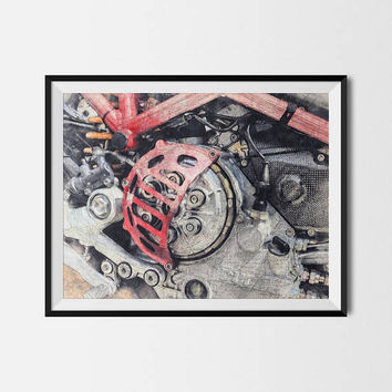 Motorcycle Poster, Ducati Poster, Ducati Clutch, Ducati Motorcycle,Ducati,Garage Decorations,Man Cave Printable,Biker Gift, INSTANT DOWNLOAD