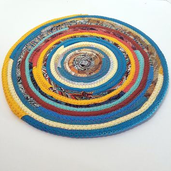 M2O Multicolor Kitchen Table Mat, Sunrise, Southwestern (Exact Colors Will Vary), Round Fabric Placemat, Plant Mat. Handmade, Made to Order