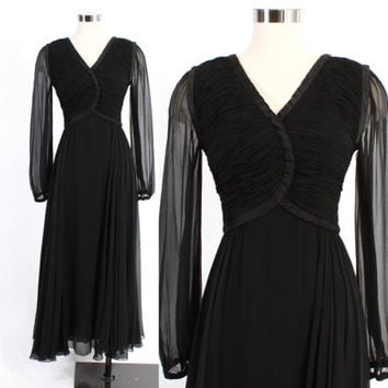 Vintage 40s Evening GOWN / 1940s Black SILK Chiffon Ruched Layers & Gathers Full Sweep DRESS