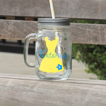 Bridesmaid mason mug, wedding mason mug, wedding party gifts, mason jar, glass mason mug