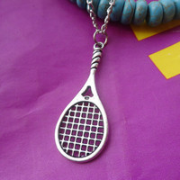 Antique Silver  Necklace--Steampunk antique silver Tennis racket  Necklace  Fashion Jewelry