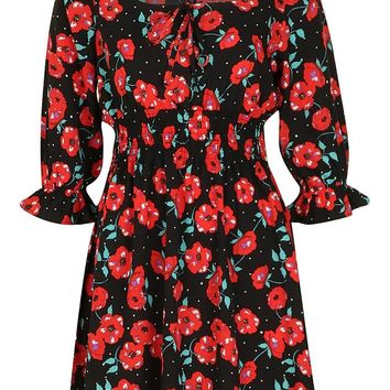 Ruched Sleeve Poppy Print Skater Dress | Boohoo