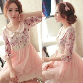 2013 Women's peter pan collar chiffon floral print dress summer lace one-piece dress  A268 = 1958216324