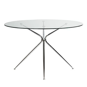 """Atos 48"""" Round Dining Table with Clear Tempered Glass Top and Chrome Base"""