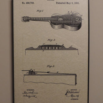 Acoustic Guitar Patent 1893 Wall Art Poster