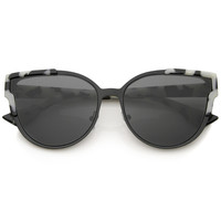 Women's Half Frame Flush Flat Lens Cat Eye Sunglasses A820