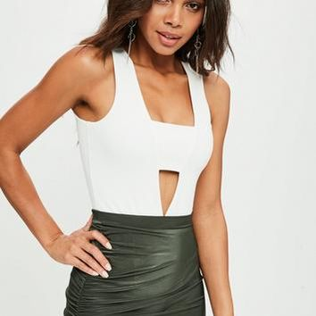 Missguided - White Panel Front Bodysuit