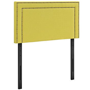 Modern Upholstered Nailhead Button Trim Padded Fabric and Vinyl Headboards