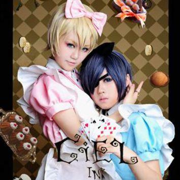 Black Butler Alois Trancy Ciel Phantomhive Ciel in wonderland alice maid dress Cosplay Costume Halloween costume for adult
