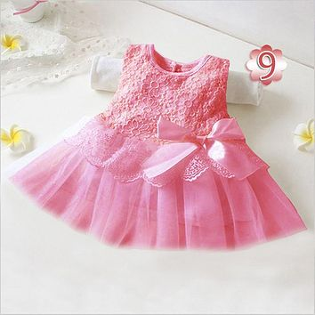 New Born Baby Girl Dress Vestido Infantil Baby White Lace Dress Wedding Party Gowns Sleeveless Girls Baptism 1 year AY904772