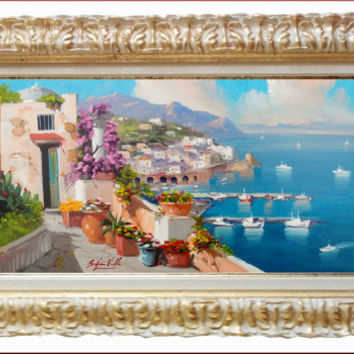 Italian painting Amalfi seascape panorama original oil on canvas of Silvio Valli Italy - Dipinto quadro Amalfi