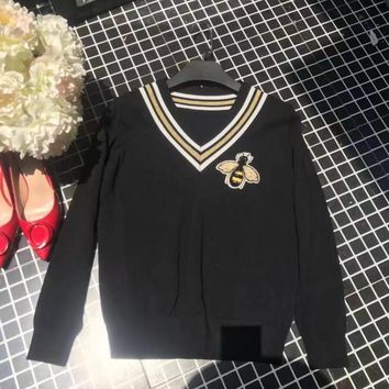GUCCI Bee Series Long Sleeve Pullover Knit Sweater