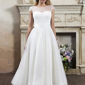 wr-894-dotty Delicate spotted tulle gown with cap sleeves and full circle skirt