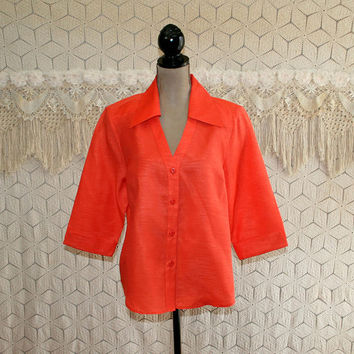 Orange Blouse 3/4 Sleeve Button Up Shirt Womens Tops XL Plus Size Clothing Womens Clothing
