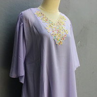 Blouse Tops Namee Kaftan PurpleCaftan Dress Chiffon Embroidery