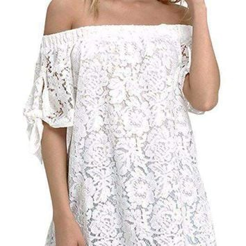 Women Strapless Lace Off Shoulder Elegant Tie Short Sleeve Crochet Blouse Sexy Tee Tops
