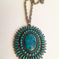 Sweet Vintage Faux Turquoise Medallion Pendant Necklace. 24 Inch Rope Chain with Large Medallion Pendant