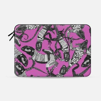 just lizards pink Macbook Pro 13 sleeve by Sharon Turner | Casetify