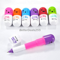 B20E Pens Telescopic Stationery Smiling Favor Face Shape Pill Ball Point 3 pcs
