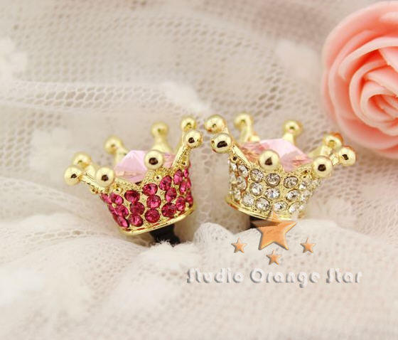 1PC Bling Crystal Crown Earphone Charm Cap Anti Dust Plug for iPhone 5, iPhone 4, Samsung S3, 2 Color Choice