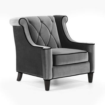 Armen Living Barrister Chair Gray Velvet and Black Piping