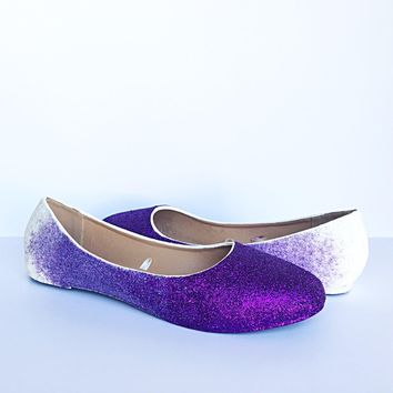 Purple Ombre Glitter Flats, Lilac White Ballet Shoes