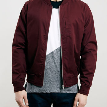 BURGUNDY COTTON BOMBER JACKET - Topman