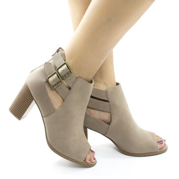 Wilma Taupe By Soda, Peep Toe Cut Out Ankle High Stacked Heel Booties